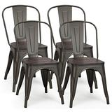 COSTWAY Tolix Style Dining Chairs Industrial Metal Stackable Cafe Side Chair with Wood Seat Set of 4 (Copper-Colored)