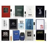 Designer Fragrance Sampler for Men - Lot x 12 Cologne Vials with Deluxe Mini Bottle