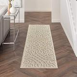 """Nourison Palamos Indoor/Outdoor Modern Floral Casual Contemporary Cream 2'2"""" x 7'6"""" Area Rug, (8' Runner)"""