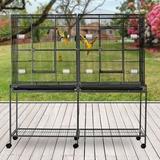 "Tucker Murphy Pet™ Rufus 64.25"" Wood Flat Top Floor Bird Cage w/ Wheels Wood in Black/Brown/Gray, Size 64.25 H x 65.0 W x 19.0 D in | Wayfair"