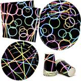 """Neon Glow in the Dark Party Supplies Tableware Set 24 9"""" Paper Plates 24 7"""" Plate 24 9 Oz Cups 50 Lunch Napkins for Bright Colored Glowing Light Sticks Themed Disposable Birthday Dinnerware Decoration"""