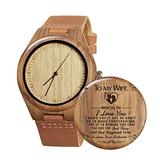 Customizd Men Women Natural Bamboo Wooden Watch,with Brown Leather Strap Handmade Casual Wrist Watch,Japanese Quartz Movement Casual Watches for Birthday Christmas Day (to Wife)