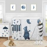 Sweet Jojo Designs Moon Bear Star 5 Piece Crib Bedding Set Polyester in Black/Blue/White | Wayfair MoonBear-Crib-5