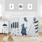 Sweet Jojo Designs Moon Bear Star 4 Piece Crib Bedding Set Polyester in Black/Blue/White   Wayfair MoonBear-Crib-4