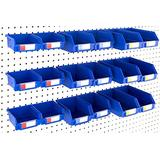 Pegboard Bins - Set of 18, Blue - Hooks to Any Peg Board - Organize Hardware, Accessories, Attachments, Workbench, Garage Storage, Craft Room, Tool Shed, Hobby Supplies, Small Parts