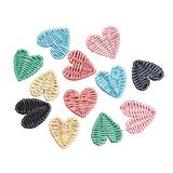 arricraft 12pcs Mixed Color Heart Beads, Rattan Woven Beads, Straw Woven Beads, Flat Heart Beads for Straw Earrings and Necklaces Making