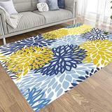 Tooperue Huge Area Rug,5X7 Area Rug Spring Floral Pattern Chrysanthemum Flowers Background Traditional Area Rug for Welcome Door Mat Porch/Kitchen/Bathroom/Entry,Blue Yellow