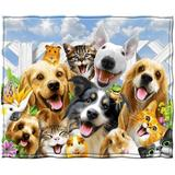 Trinx Backyard Pals Dogs & Cats Super Soft Plush Fleece Throw Polyester in Brown/Yellow, Size 60.0 H x 50.0 W in | Wayfair