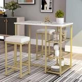 Mercer41 Longmedow 3 - Piece Counter Height Dining SetWood/Metal/Upholstered Chairs in Brown/White/Yellow | Wayfair
