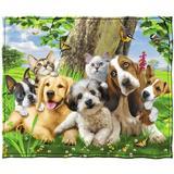 Trinx Puppy & Kitten Pals Super Soft Plush Fleece Throw Polyester in Brown/Green/Yellow, Size 60.0 H x 50.0 W in | Wayfair