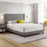 Red Barrel Studio® Murri Tufted Upholstered Platform Bed Upholstered/Linen/Linen Blend in Gray, Size 66.5 W x 86.0 D in   Wayfair