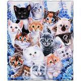 Trinx Kitten Collage Super Soft Plush Fleece Throw Polyester in Black/Blue/Brown, Size 60.0 H x 50.0 W in | Wayfair