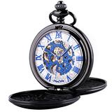 ManChDa Mechanical Roman Numerals Dial Skeleton Pocket Watches with Box and Chains for Mens Women (5.Black case+White Dial + Blue)