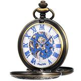ManChDa Mechanical Roman Numerals Dial Skeleton Pocket Watches with Box and Chains for Mens Women (6.Bronze case+White Dial + Blue)