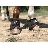 TGW RIDING 2520D Horse Bell Boots No-Turn Horse Bell Boots, Equine Ballistic Hoof Overreach Bell Boot, Pair (Brown, L)