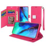 Magnetic Metal Snap Two Row Credit Card Holder Mobile Phone Wallet Case with Wristlet, Hot Pink For Moto G Stylus