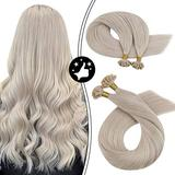 Moresoo 24 Inch U Tip Hair Extensions Human Hair Straight Keratin Bond Hair Extensions Hot Fusion Color #60A White Blonde Hair Extensions Fusion Nail Tip Hair extensions Natural Human Hair 50g/50s