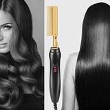 Hot Comb,Electric Heating Comb,Hot Comb Hair Straightener,Ceramic Comb Security Portable Curling Iron Heated Brush,Multifunctional Copper Hair Straightener Brush Straightening Comb(gold)