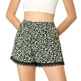 Allegra K Women's Shorts Allover Floral Printed Lace Trim Hem Elastic Waist Beach Shorts Dark Green Large