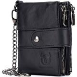 Leather Men Wallet with Anti-Theft Chain,Genuine Leather RFID Blocking Vintage Hasp Bifold Wallets Multifunctional Card Holder Minimalist Purse Zipper Coin Pocket with ID Window (Black)