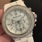 Michael Kors Accessories | Authentic Michael Kors Ceramic Chronograph Watch | Color: White | Size: Standard