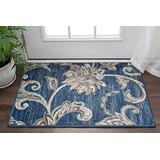 Garland Navy 2x3 Scatter Mat Area Rug for Hallway, Walkway, Entryway, or Foyer - Transitional, Floral
