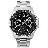Timex Men's Dress Multi-Function 45mm Watch – Stainless Steel Case & Bracelet with Black Dial