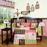 Zoomie Kids Anahi 12 Piece Crib Bedding Set Cotton Blend in Brown/Green/Pink | Wayfair ZMIE5569 42830601