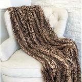 Everly Quinn Quintana Jungle Cat Luxury Faux Fur Throw Faux Fur in Brown/White, Size 36.0 W in   Wayfair A65BDE8AA2704011A591AECDFE0B333D
