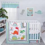 Harriet Bee Rieder Dinosaur Roar 3 Piece Crib Bedding Set Cotton Blend in Blue/Green/Orange | Wayfair 03E0D3EA46DA44C8A78E96E36897168A
