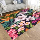 Extra Large Area Rug,Tooperue 5' X 7' Area Rug for Girls,Exotic Pattern Tropical Leaves Flowers Blooming Jungle Contemporary Area Rugs,for Home Décor,Indoor,Living,Dining Room