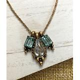 Edison Rose Women's Necklaces - Green Crystal & Goldtone Charm Pendant Necklace