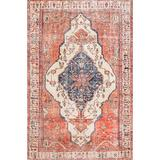 Bungalow Rose Ethell Oriental Area Rug Polyester/Cotton in Gray/Orange/White, Size 122.0 H x 95.0 W x 0.2 D in | Wayfair