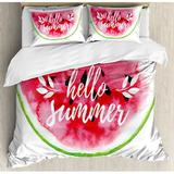 East Urban Home Lifestyle Watercolor Watermelon Figure w/ Hello Summer Motivation Quote Paint Print Duvet Cover Set Microfiber in Pink/Yellow