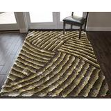Rose Rug Linens Solo 3D Shag Shaggy Collection Modern Contemporary Soft Cozy Plush Brown Beige Colors Area Rug Carpet Rug 8' Feet x 10' Feet Indoor Bedroom Living Room Decorative Designer