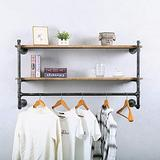 Industrial Pipe Clothing Rack Wall Mounted with Real Wood Shelf,Pipe Shelving Floating Shelves Wall Shelf,Rustic Retail Garment Rack Display Rack Cloths Rack,48in Steam Punk Commercial Clothes Racks