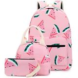 CAMTOP Teen Girls Backpack for School Kids Backpack with Lunch Bag Watermelon Bookbag Set (Y0080-3 Watermelon-Pink)