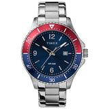 Timex Men's Diver-Inspired 3-Hand 43mm Watch – Silver-Tone Case Blue Dial Red Accents with Stainless Steel Bracelet