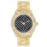Mens ICY Metal Band Watch with Iced Out Solitaire Bezel and Diamond Covered Adjustable Band - Bling-ed Out - Hip Hop Inspired