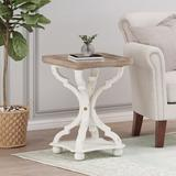One Allium Way® Trestle Tray Top End Tablewith Storage Wood in White, Size 25.0 H x 18.75 W x 18.75 D in | Wayfair 0F5952D7AAA54235A680F1DB5901F6E1