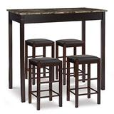 Linon Espresso Table and 4 Stools Faux Marble Tavern Set, Brown 5pc