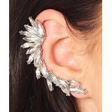 Costume Culture Women's Earrings White/Gold - Rhinestone & Silvertone Marquise Cluster Ear Cuff