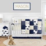 Sweet Jojo Designs Woodland Bear Baby Boy Nursery Crib Bedding Set - 5 Pieces - Navy Blue Gold and White Arrow Polka Dot