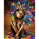 TUMOVO Paint by Numbers Kits for Adults Acrylic Young Girl Oil Painting Canvas Customized DIY Paint by Numbers Set Painting for Beginners-African American Woman Girl(16''Wx20''H)