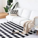 MELAJIA Black and White Checkered Rug Buffalo Plaid Rug Washable Carpet Hand Woven Area Rugs Farmhouse Rug for Bedroom Living Room Kitchen Bathroom Laundry Room (3' x 5')