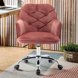 HomVent Upholstered Swivel Chair, Modern Design Accent Arm Chair, Velvet Desk Chair Leisure Arm Chair Adjustable Swivel Task Stool for Living Room/Bedroom/Office (Red)