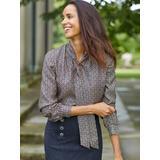 J.McLaughlin Women's Virginia Silk Blouse in Sereno Alley Black/Brown Geometric, Size XL