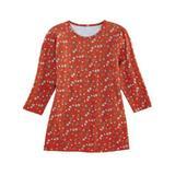 Women's Three-Quarter Sleeve Anytime Tee, Autumn Glaze Floral Orange M Misses