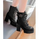 BUTITI Women's Casual boots black - Black Buckle Block-Heel Combat Boot - Women