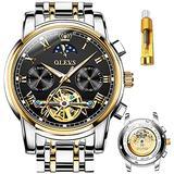 OLEV.S Automatic Watch Mens Skeleton Watch Black- Men Automatic Winding-Date-Moon-Phase Day of The Week dial Men's Watch Luxury Waterproof Stainless Steel Gold&Black